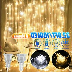 Warm White 100LED 10m Fairy Curtain String Lights Christmas