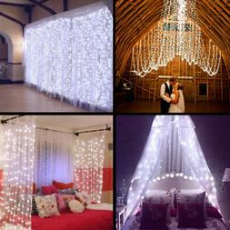 Warm White 100LED 10m Fairy Curtain String Lights Christmas