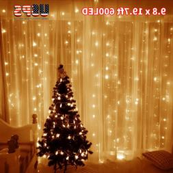Warm White 600LED 6*3m Fairy Curtain String Lights Party Hol