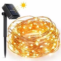 Warm White Solar Powered Copper Wire Fairy String Lights 100