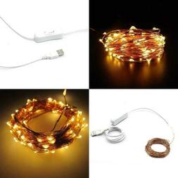 Waterproof LED Copper Wire String Lights 100 Leds 33 Ft For