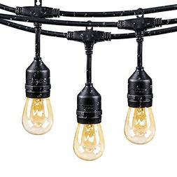 48Ft Outdoor Weatherproof String Lights with 24 Sockets E26