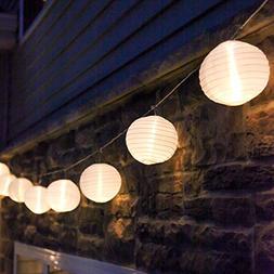 10 ft. White Outdoor String Light, 10 Mini Lanterns, 1 Plugi