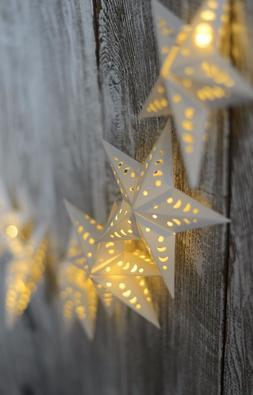 White Star String Lights 10 LED Set Warm White Gerson Sterli