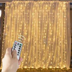 Brightown LED Window Curtain String Lights with Remote & Tim
