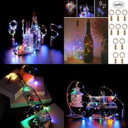 Wine Bottle Cork Lights Fairy String 20 LED 6.5 FT Copper Ba