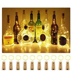 Aluan Wine Bottle Lights with Cork 15LED 10 Pack Bottle Ligh