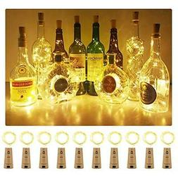 Aluan Wine Bottle Lights 10 Pack 12LED Cork Bottle Lights wi