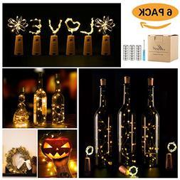 Wine Bottle Lights with Cork,LED Cork Lights for Bottle 6 Pa