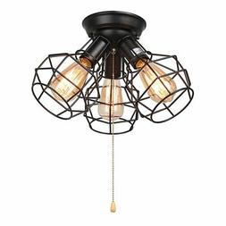LALUZ Wire Cage Ceiling Lights 3-light Pull String Flush Mou